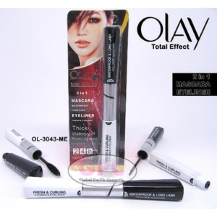 Mesh Mascara Eyeliner OLAY 2 in 1 - Mascara + Eye Liner Dalam Satu Kemasan Waterproof