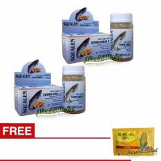 Minyak Ikan Squalane FIsh Liver Oil Salmon Omega 3, 6 & 9 - 100 soft kapsul Plus Gula jagung -  2Pcs