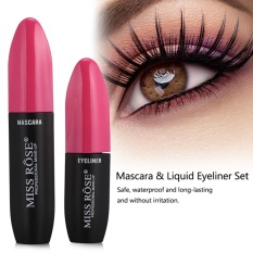 MISS ROSE 2In1 3D Fiber Mascara Liquid Eyeliner Waterproof Bulu Mata Makeup Kit Rose Merah