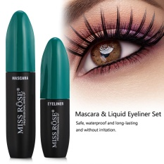 MISS ROSE 2In1 3D Fiber Mascara Liquid Eyeliner Waterproof Bulu Mata Makeup Set Hijau-Intl