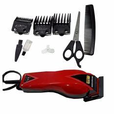 Mitsuyama MS-5019 Alat Cukur Rambut Hair Clipper Trimmer Mesin Potong Professional Groomer 3 Mata Pisau Tajam Hemat Energi - Merah