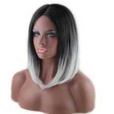 Model Seksi 45 Cm Medium Wig Rambut Lurus And Panjang Penuh Rambut Wig For Cosplay Anime Natal Pesta Halloween Ombre Hitam For Putih