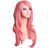 Toko Moonar Womens Ladies 70 Cm Long Curly Bergelombang Cosplay Kostum Anime Party Full S*Xy Wig Pink Online Di Tiongkok