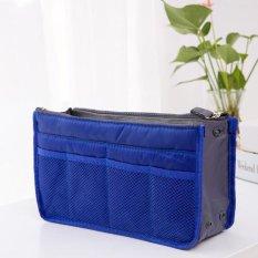 MU-B-41 Solid Warna Zippered Soft Tas Kosmetik Square Make Up Bag-Royal Blue-Intl