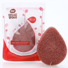 Review My Konjac Sponge All Natural French Red Clay F*c**l Sponge For Dry Or Mature Skin