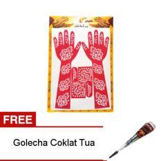 Nabawi Cetakan Henna Tangan Full - Pink + Gratis Golecha Heena 1 pcs