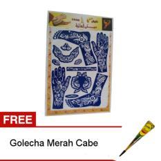 Nabawi Cetakan Henna Tangan Kaki - Biru + Gratis Golecha Heena