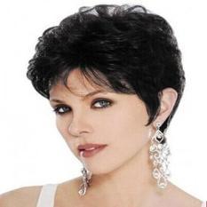 Alami Mighty Gadget-Natural Melihat Rambut Wig Sintetis Pendek Bergelombang Wig Hitam untuk Wanita Fashion Wig/perucas Murah Harga! (Acak Warna)-Intl