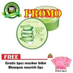 Nature Republic Aloe Vera Soothing Gel 92% Korea 300ml Original - Money Back Guarantee + Free Masker Bibir 5pcs