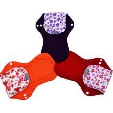 Faaza Store Menspad 3Pcs SUPER JUMBO 41cm MenstrualPad / Pembalut Kain Cuci Ulang Wanita-Motif Bunga Indah