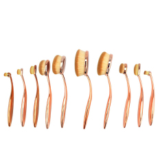 Beli Niceeshop 10 Buah Sikat Gigi Menyikat Lembut Profesional Rias Oval Set Kuas Foundation Mawar Emas Murah