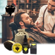 Promo Toko Niceeshop 1 Set Dari 4 Pcs Mens Beard Styling Alat Set Beard Oil Dan Balsem Kumis Sikat Sisir Rambut Intl
