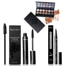 NICEFACE riasan mata kombinasi 12 warna eye shadow + maskara + eyeliner pen untuk mengirim 12 bulu mata sikat Q301 - intl