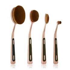 Oval Makeup Brush Set, Rose Gold 4 Pieces Profesional Ergonomis Pu Handle Foundation Blending Blush Concealer Eye Face Liquid Po-Intl