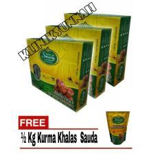 Paket 3 Sauda Delicious Kurma Khalas Premium - 1kg + 1/2kg Kurma Sauda By Kliniksunnah.