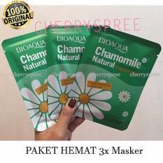 Paket 3pcs Bioaqua Original Masker Wajah Chamomile Brightening Melembabkan Whitening dan Anti Penuaan Dini - 3 Pcs