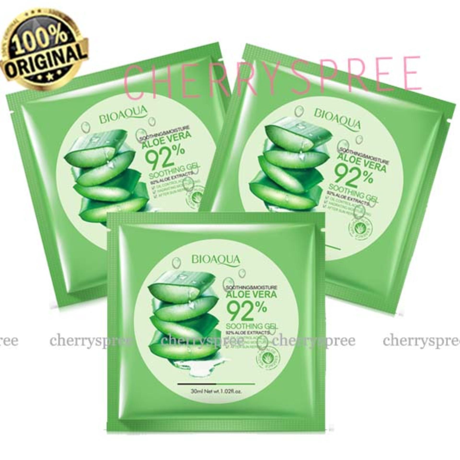Harga Diskon Paket 3pcs Bioaqua Sheet Mask 92 Aloevera Masker Wajah Rorec Aloe Vera Whitening Melembabkan 30ml