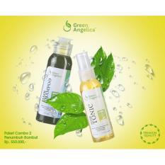 Jual Paket Combo 2 Penumbuh Rambut Alami Dan Permanen Green Angelica Hair Shampo Hairtonic Original Branded Murah