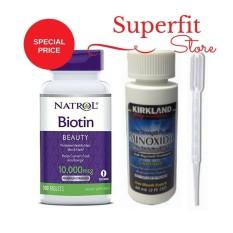 Promo Paket Kirkland Minoxidil 60 Ml Natrol Biotin 10000 Mcg 100 Tablet Penumbuh Rambut Pria Dki Jakarta