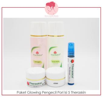 Paket Perawatan Glowing Pengecil Pori Theraskin (facial wash oily, astringent, suncare with brightener tw, serum poreminimizer, krim malam glowing)- gerai ...