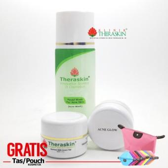 Paket Theraskin Acne Glow + Memutihkan dengan Efek Glowing / Jerawat Sedang Untuk Kulit Normal /