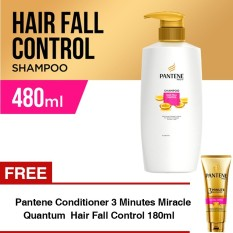 Pantene Shampoo Hair Fall Control 480Ml Free Pantene Conditioner 3 Minutes Miracle Quantum Hair Fall Control 180Ml Asli
