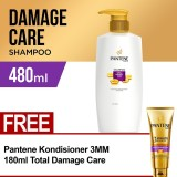 Beli Pantene Shampoo Total Damage Care 480Ml Free Pantene Conditioner 3 Minutes Miracle Quantum Total Damage Care 180Ml Pantene Murah