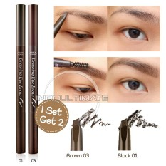 ETUDE HOUSE Pensil Alis & Sikat Alis 2 in 1 / ETUDE HOUSE Drawing Eye Brow Set PA-01 - BLACK & BROWN