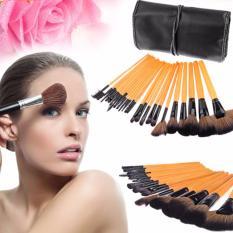 Pitaldo 24 in 1 Professional MakeUp Kosmetik Brush Kit Set Lengkap dengan Tas Roll Pouch [Brown]