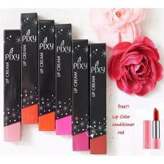 Pixy Lip Cream 1 paket 6 warna = 6 btl + free 1 btg Pixy Lip Color Conditioner Red