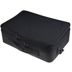 Portable Travel 3-layer Large Space Waterproof Kosmetik Makeup Penyimpanan Alat Kecantikan Carrying Organizer Tas Koper dengan Tali Bahu Hitam-Intl