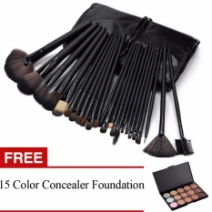 Professional 24Pcs Cosmetic Makeup Make Up Brush Brushes Set KitTools + Professional 15 Colors Makeup Face Cream Concealer Palettewith Super Soft Pouch Bag Case