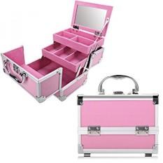 Kasus Kereta Riasan Profesional Kosmetik Kotak dengan Dapat Disesuaikan Dividers-Aluminium Membuat Hingga Artist Organizer Perlengkapan dengan Cermin Perhiasan kotak-3 Baki Yang Dapat Diperpanjang dan 2 Kunci (PINK_PINK) -Internasional