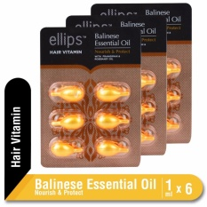 PROMO MULTIPACK x3 Ellips Hair Vitamin Balinese Essential Oil Nourish & Protect Blister @6 Capsule