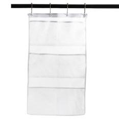 Cepat Kering Hanging Bath Organizer dengan 6 Kantong, Tahan Shower Curtain Rod/Liner Hooks, Shower Organizer, Mesh Shower Organizer, Aksesoris Kamar Mandi, Menghemat Ruang Di Bak Mandi Kecil dengan 4 Ring-Internasional