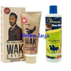 Ricko Jaya Promo Wak Doyok - Cream Penumbuh Jambang Herbal Kumis Bulu Jenggot Rambut 75ml & Shampoo Kuda Vienna Herbal Penumbuh Rambut 350ml