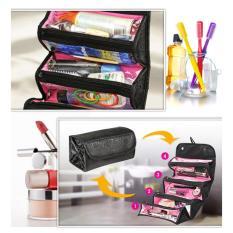 Roll and Go Cosmetic Bag -  FoldableToiletry Travel Bag Roll n Go Cosmetic Organizer  - Tas Kosmetik Unik Travel - Tas Serbaguna - Tas Tempat Penyimpanan Alat Make Up Perhiasaan Kebutuhan Mandi & Travel -  Warna Random