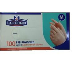 SAFEGUARD Powdered Latex Examination Gloves Sarung Tangan Karet Kualitas sensi gloves 100 pcs