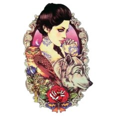 Sexy Girl Owl Wolf Design Temporary Tato Rose Flower Fashion