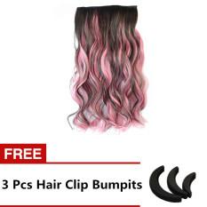 Seksi Rambut Panjang Sintetis Dua Nada Ombre Sopak Klip-pada Perpanjangan Alat Kecantikan Rambut Wig Coklat For Berwarna Merah Muda-Internasional
