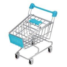 Siehr Mini Shopping Cart Kids Toy Creative Desktop Rak Puff Rak Botol Makeup Tempat Spons (biru Muda)-Intl
