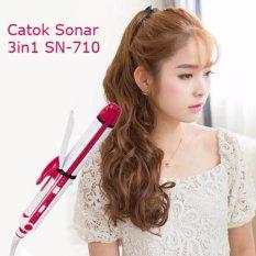Toko Sn 710 3 In 1 Catokan Pelurus Rambut Wanita Catokan Curly Blow Brush Kriting Sonar Sn 710 Putih Pink Di Jawa Barat