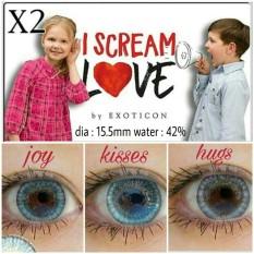 Softlens I Scream Love By Exoticon + FREE LENSCASE - Biru (Joy)