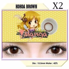 Softlens SHIN MANGA 1 tone KOKOA BROWN NORMAL free 1 pc lenscase