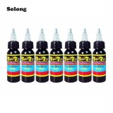 Harga Solong 7Pcs Set 30Ml Bottle Complete Tattoo True Black Inks Black Intl Yang Murah
