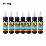 Jual Cepat Solong 7Pcs Set 30Ml Bottle Complete Tattoo True Black Inks Black Intl