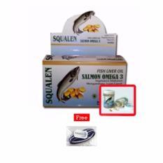 SQUALEN Fish Liver Oil Salmon Omega 3 / Minyak Ikan Salmon - 100 kapsul / 1Kotak + Free Polkadope Ikat Rambut - 1 Pcs
