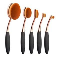 Summifit 5 Pcs Soft Oval Makeup Brushes Set Professional Foundation Contour Concealer Blush Eyebrow Eyeliner Brush Kit