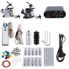 Tattoo Kit 2 Machine Tool Pigment Tips Power Supply Set 20 Needle for Beginner EU PLUG