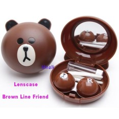 Tempat SoftLens / Lenscase - Brown Line Friend - 1 Pc